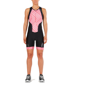 2XU Perform Combinaison avec avec zip frontal Femme, black/rose pink tide